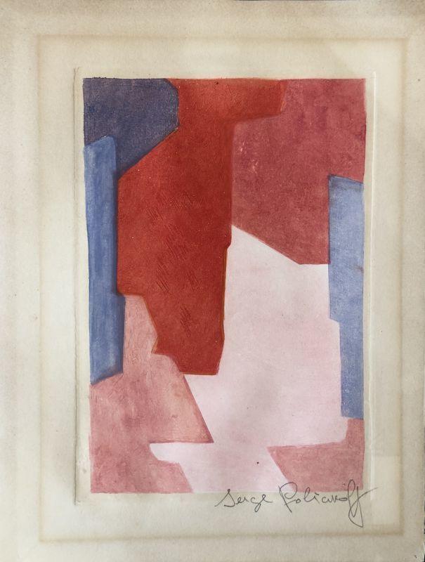 Serge POLIAKOFF - Estampe-Multiple - Composition mauvre bleue et rouge XXI