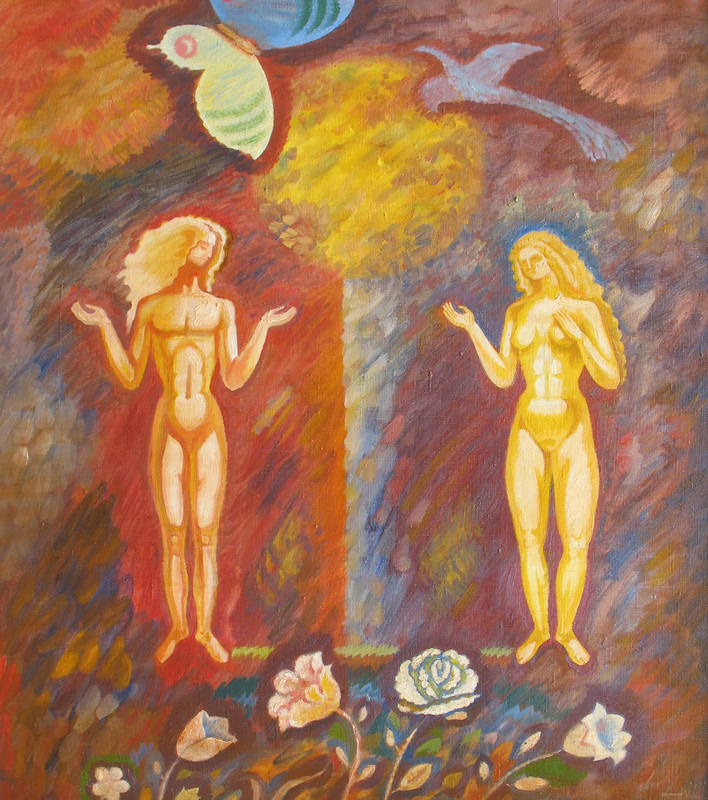 Sergey BORISOV - Painting - Adam and Eve, seria Flowers and Love, absract Eden