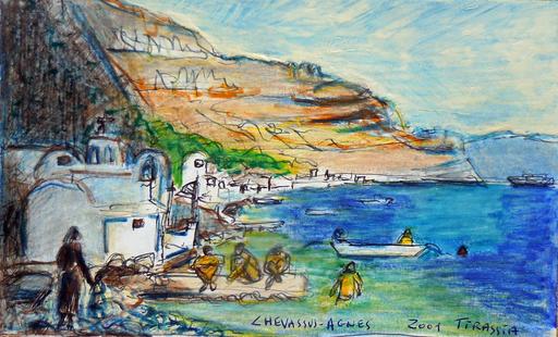 Jean-Pierre CHEVASSUS-AGNES - Peinture - vue deTHIRASSIA village proche de SANTORIN  ( Grèce )