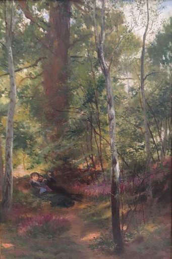 Georges Antoine ROCHEGROSSE - Gemälde - Un couple allongé au sol dans un sous bois.