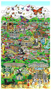Charles FAZZINO - Print-Multiple - Butterflies over Vienna