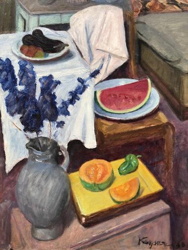 Edmond Charles KAYSER - Painting - NATURE MORTE AUX FRUITS