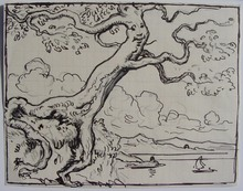 Eugène BURNAND - Dessin-Aquarelle - arbre humanoïde
