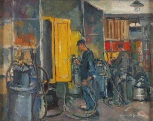 Leonhard SANDROCK - Pintura - Arbeiter beim Farbenspritzen