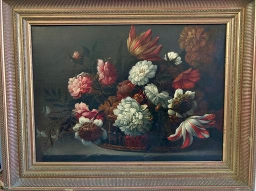 Anton WEISS - Pintura - Blumenstillleben  Korb mit Tulpen Chrysanthemen, still life