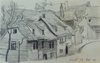 Lyonel FEININGER - Drawing-Watercolor - Street in Weimar | Strasse in Oder um Weimar