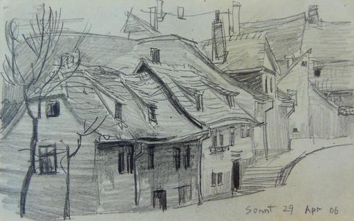 Lyonel FEININGER - Dibujo Acuarela - Street in Weimar | Strasse in Oder um Weimar