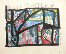 Maurice HENRY - Dibujo Acuarela - Emmurés vivants, 1960