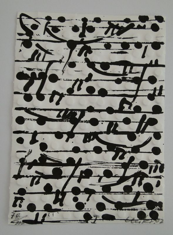 Günther UECKER - Estampe-Multiple - optische Partitur I (Notation)