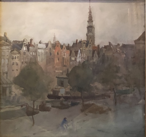 Max GAISSER - Dibujo Acuarela - Am Kanal Amsterdam