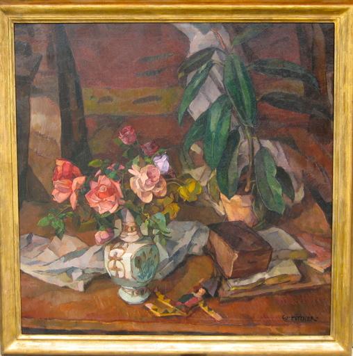 Walter PÜTTNER - Pintura - nature morte au bouquet de roses