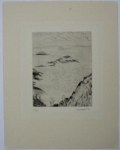 Erich HECKEL - Estampe-Multiple - Berge im Nebel