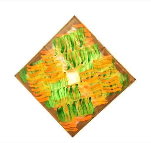 Carla ACCARDI - Painting - Segni incrociati verde arancio