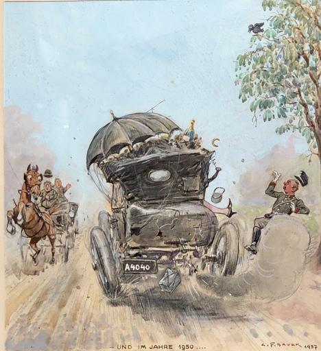 Carl Franz BAUER - Disegno Acquarello - UND IM JAHRE