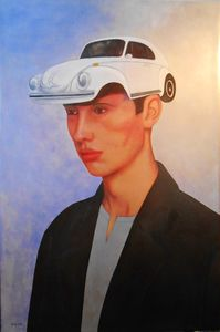 Christian SATIN - Painting - Guy with cap    (Cat N° 6706)