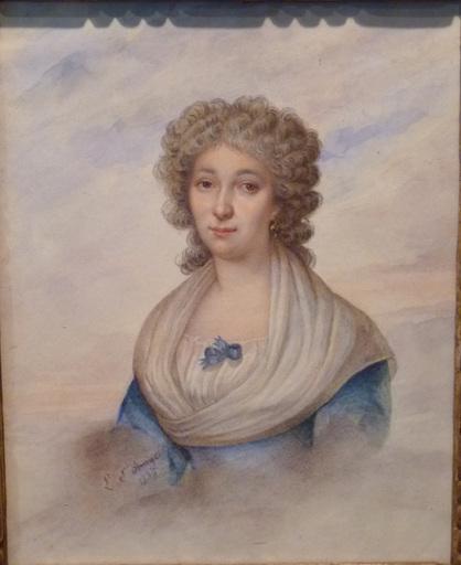 Louis SAINT-ANGE-DESMAISONS - 水彩作品 - Portrait de Jeune Femme