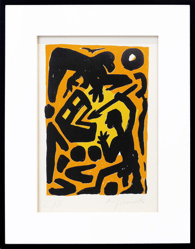 "A.R. PENCK - Print-Multiple - ""Kampf gegen das System"" gelb-orange"