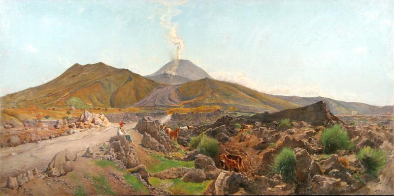 Edoardo MONTEFORTE - Painting - Alle falde del Vesuvio