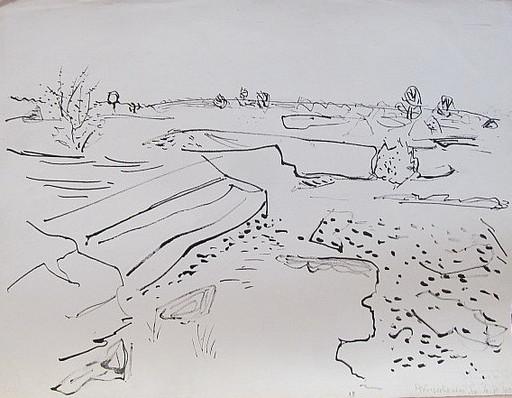 Erich HARTMANN - Dibujo Acuarela - #19939: Plönjeshausen.
