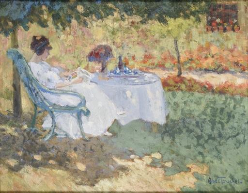 Louis ABEL-TRUCHET - Gemälde - Femme au jardin lisant