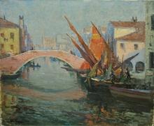Pierre WAIDMANN - Pintura - Le pont rose à Venise