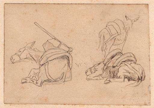 Giovanni FATTORI - Zeichnung Aquarell - DONKEYS AT REST