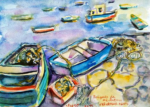 Jean-Pierre CHEVASSUS-AGNES - Dessin-Aquarelle - barques de pêcheurs le long du DOURO à PORTO