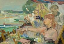 André PLANSON - Peinture - Le canotier au bord de la Marne