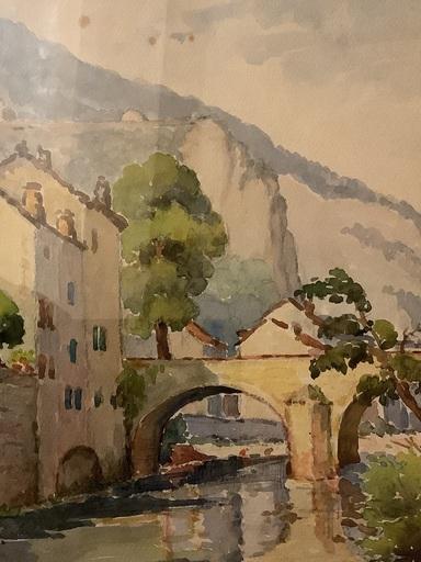 Émile Pierre BONNY - Dibujo Acuarela - Vues de Meyrueis