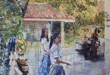 Henri LAMY - Painting - Puerto galera scholl girls