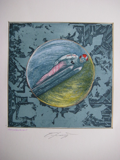 Ernst FUCHS - Estampe-Multiple - GRAVURE SKI SIGNÉE CRAYON COLORÉ MAIN HANDSIGNED ETCHING