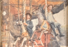 Isaac Lazarus ISRAELS - Drawing-Watercolor - Untitled (Kids on a Carousel)