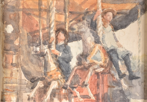 Isaac Lazarus ISRAELS - Dibujo Acuarela - Untitled (Kids on a Carousel)