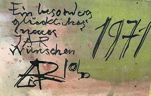 Arnold FIEDLER - Dibujo Acuarela - Neujahrsgruß 1971