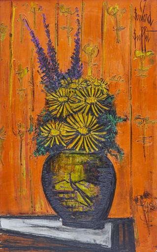 贝纳•毕费 - 绘画 - Bouquet au vase chinois, fond orange