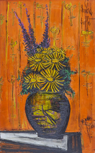 Bernard BUFFET - Painting - Bouquet au vase chinois, fond orange