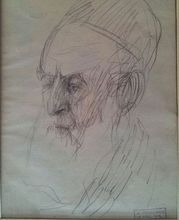 Arthur MARKOWICZ - Dibujo Acuarela - Rabbi
