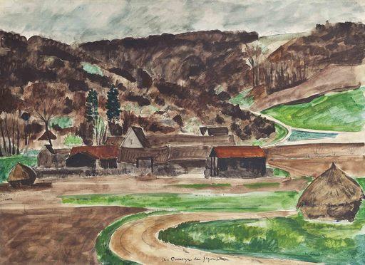 André Albert Marie DUNOYER DE SEGONZAC - Pintura - La ferme de Tigneaux, Ile de France