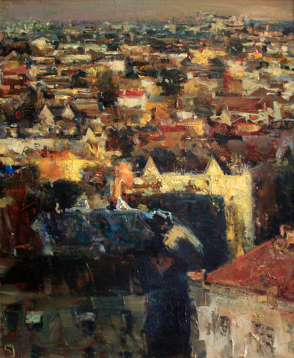 Levan URUSHADZE - Pittura - Night roofs