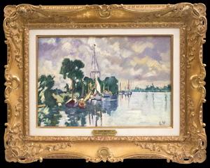 Louis VALTAT - Pintura - Voiliers à Ouistreham