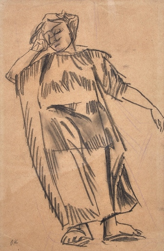 Oskar KOKOSCHKA - Dibujo Acuarela - Alma Mahler im Liegestuhl in Neapel