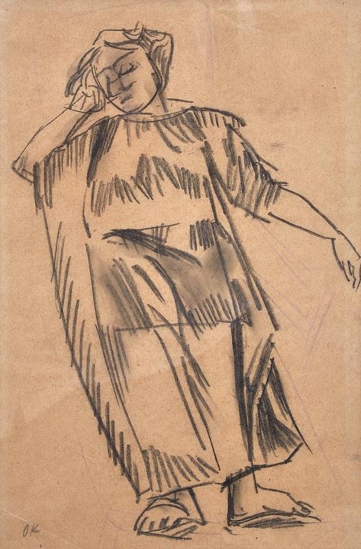 Oskar KOKOSCHKA - Drawing-Watercolor - Alma Mahler im Liegestuhl in Neapel