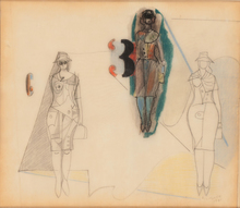 Richard LINDNER - Dibujo Acuarela - Study of three women