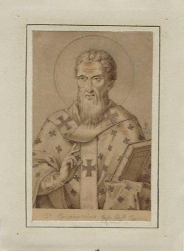 """Ludwig Ferdinand SCHNORR VON CAROLSFELD - Zeichnung Aquarell - """"Saint Epiphanius"""" by Ludwig F. Schnorr von Carolsfeld"""