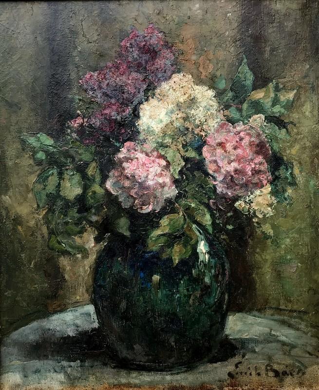 """Emile BAES - Painting - """"LE GRAND BOUQUET DE LILAS"""""""