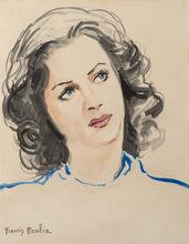 弗朗西斯·毕卡比亚 - 水彩作品 - Tête de jeune femme (probablement Hedy Lamarr)