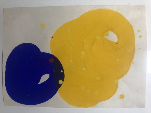 Sam FRANCIS - Drawing-Watercolor - UNITILED YELLOW- BLUE