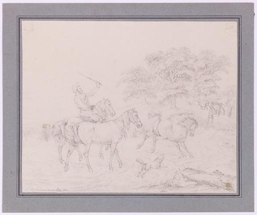 "Friedrich Leonhard LEHMANN - Dessin-Aquarelle - ""Shepherd Tending Horses and Cows"" by Friedrich L. Lehmann"
