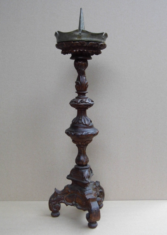 Carved 18th Century Candle Holder