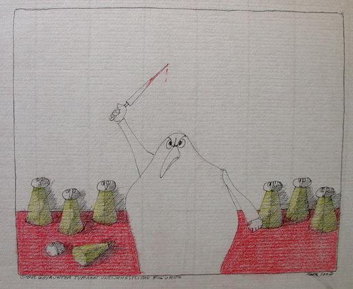 Paul FLORA - Disegno Acquarello - Übel gelaunter Tyrann und ängstliche Figuren